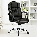 mecor Chefsessel Bürostuhl 100kg belastbarkeit, Gamer Stuhl Leder, Schreibtischstuhl Schwarz