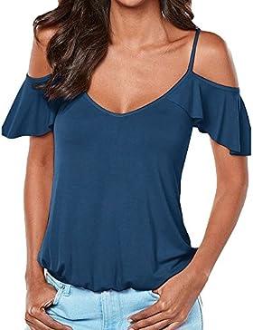 ZiXing Donna Magliette Blusa Manica Corte Maglietta Donne Camicetta Sottile Camicie V Collare T-Shirt Tops Colore...