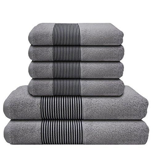 Liness Stripes 6 tlg Handtücher Set grau 4 Handtücher 50×100 cm 2 Duschtücher Badetücher 70×140 cm 100% Baumwolle Frottee Duschtuch Badetuch Handtuch Set grau hellgrau silbergrau