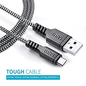 Mivi Nylon Braided Universal Micro USB Cable (Silver) – Pack of 2