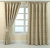 Homescapes Blickdichte fertig konfektionierte Luxus Kräuselband Jacquard Vorhänge Vevey Paisley Creme L 137 x B 117 cm