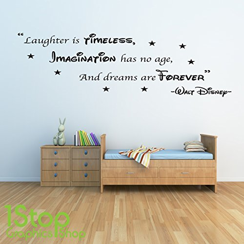 1Stop Graphics Shop   WALT DISNEY WALL STICKER QUOTE   KIDS BOYS GIRLS HOME  WALL ART DECAL X133   Colour: Black   Size: Large