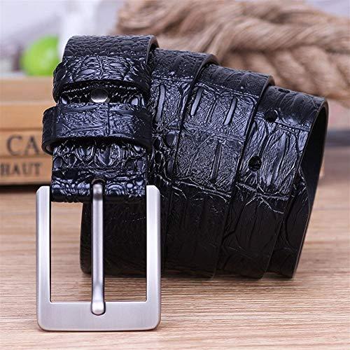 WUTOLUOHANOS Cinturón de Cuero Genuino for Hombres, Cinturones Casuales de Hebilla con Pasador de Piel de cocodrilo (Color : Negro, tamaño : 115CM)