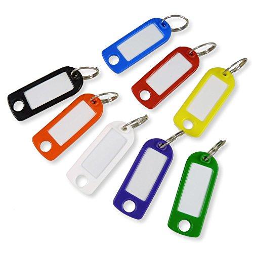 Schlüsselanhänger bunt gemischt mit Schild und Ring - 100 Stück - Schlüsselschild zum Beschriften und Auswechseln - stabile Ausführung - 3 Stück Office