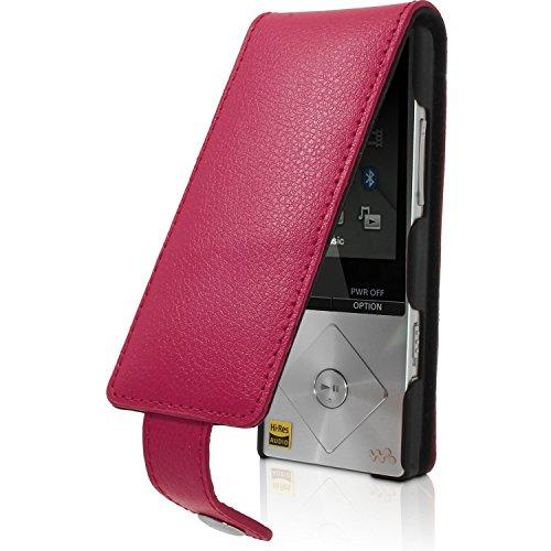 iGadgitz U3523Leder Flip Ledertasche für Sony Walkman NWZ-A15A178GB 16GB Case Cover mit abnehmbarem Karabiner und Ring- und Magnetverschluss Halterung und Displayschutzfolie-Rosa -