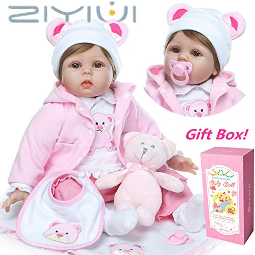 ZIYIUI Realista Bebé Muñecas Reborn Niña Silicona Muñeco Reborn Babys Chica Recién Nacido 22 Pulgadas Niños Magnetismo Juguetes bebes