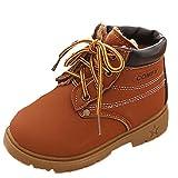 OverDose Unisex-Baby weiche warme Winter Baby Kind Armee Art Mode Gummisohle Martin Stiefel warme Schuhe mit Baumwolle (1-6 Jahre alt) (24, Kaffee+Baumwolle)
