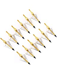 VERY100 12 x 7,2 cm Puntas de Flecha de Caza con 3 Cuchillas Agudas - 100 granos, dorado