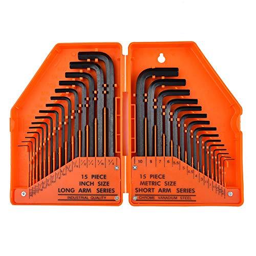 Innensechskantschlüssel Set 30-tlg Flachkopf - Sechskantschlüssel Satz HX - Inbusschlüssel satz - Metrisch und Zoll Winkelschraubendreher für Innensechskant mit Kunststoffbox