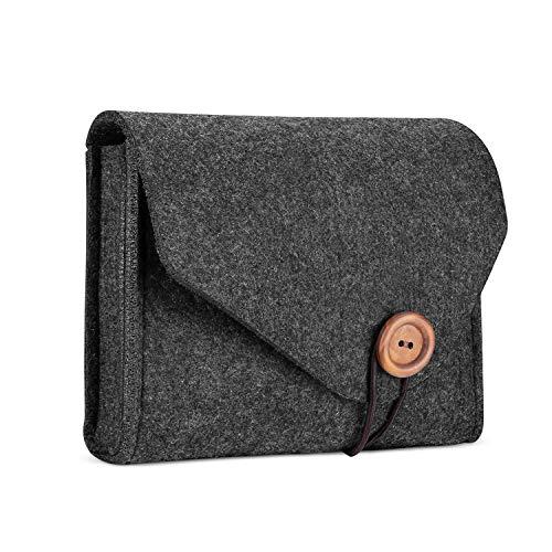 ProCase Estuche de Almacenamiento de Fieltro, Bolsa Portable Organizadora de Accesorios Electrónicos para MacBook Laptop Fuente de Alimentación Adaptador Cargador Ratón Teléfono SSD HHD - Negro