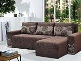 Best Sofas - Brown Fabric Corner Sofa Bed PETER - Peter Review