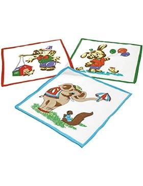 Betz. Set di 12 fazzoletti per bambini al motivo d'animali, misure 26 x 26 cm, 100 % cotone, design 3