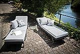 greemotion 128510 Lounge Set Aluminium Panama-Alu Loungeset 3 teilig für Garten & Terrasse-Outdoor Garnitur in Anthrazit & Grau mit 2 Liegen als Eckbank & Hocker, 22,6 x 7,4 x 6,6 cm - 18