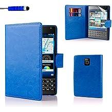 32nd® Funda de cuero sintético tipo billetera para BlackBerry Passport - Azul