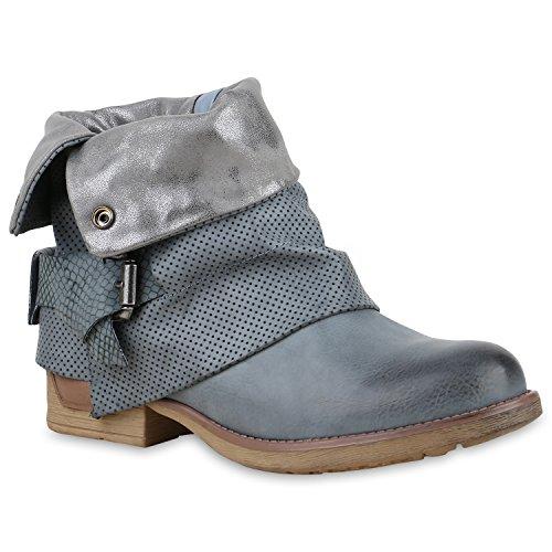 YE Damen Blockabsatz Kurzschaft Stiefel Jeans Damen Denim