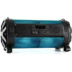 auna Thunderstorm S - Enceinte Bluetooth Portable Haut-Parleur sans Fil sur Batterie, contrôle Via app (éclairage Multicolore LED, Port USB MP3, entrée AUX, Micro et Guitare) - Design Moderne Noir