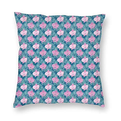Papalikz Orchid Throw Pillow Cushion Cover,Pink Blossoms of Orchid Flowers Among Tropical Palm Leaves,Decorative Square Accent Pillow Case 18
