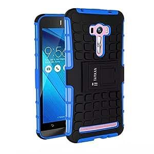 TARKAN Hard Armor Hybrid Rubber Bumper Stand Rugged Back Case for Asus Zenfone 2 Laser 6.0 inch ZE601KL (Blue)