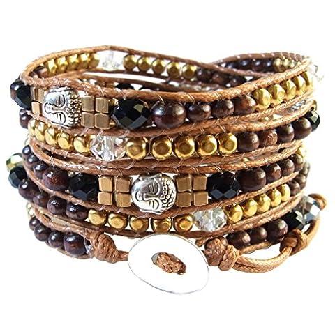LUN NA Asiatique Bracelet Wrap Fait Main 100% Perles en Bois Tête Bouddha Rhodium Llatón Cristal Couleur Brun à Partir de la Thaïlande