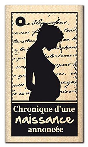 Florilèges Diseño FD 112.029 Tampon Scrapbooking Nacimiento Anunciado Negro 7 x 4 x 2,5 cm
