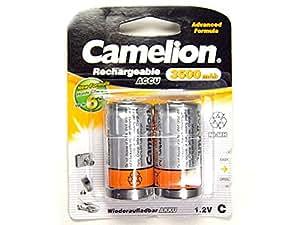 2 Piles LR14 R14 C Rechargeables 1.2V Ni-Mh 3500mAh Camelion