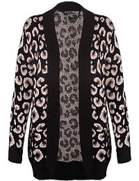 (womens leopard knitted drape cardigan)(me) frauen leopard gestrickt Strickjacke (36/38 (uk 8/10), (black) schwarz)