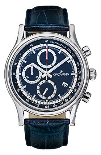 Para hombre reloj infantil de cuarzo con Grovana azul esfera cronográfica y azul correa de piel 1730,9535