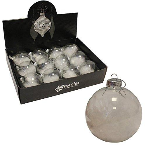 Weihnachten Dekoration–Box von 12Luxus 80mm Feder Gefüllt Glas Weihnachtskugeln