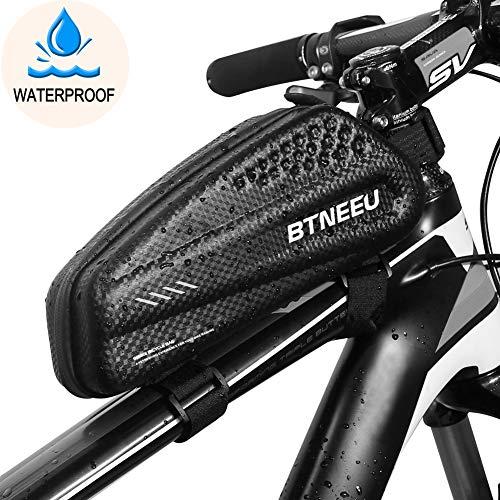 BTNEEU Bolsa Manillar Bicicleta Impermeable, Bolsa Cuadro Bicicleta Bolsa Tubo Bicicleta Bolsa Movil Bicicleta para iPhone XS MAX/8 Plus/7 Plus/Samsung Note8/S9/S10 Menos de 6.5 Telefono (Negro)