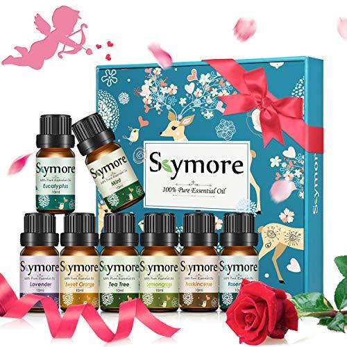 Skymore Ätherische Öle Set, Aromatherapie Duftöl Aromaöle für Diffusor, Luftbefeuchter, Massage, 8 x 10 ml (Zitronengras, Lavendel, Teebaum, Eukalyptus, Orange, Minze, Weihrauch, Rosmarin) -