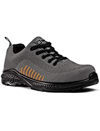 Black Hammer Mens Safety Trainers flynit Non Metal Free S1P SRC Ultra Lightweight Composite Toe Cap Kevlar Midsole Non Metallic Work Shoes Boots Ankle Hiker 2222