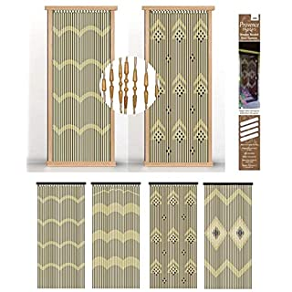 AQS INTERNATIONAL Bamboo Wooden Beaded Door Curtain Insect Blind Screen Fly Bug Out Assorted Design 180cm x 90cm
