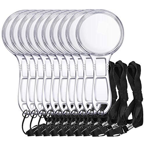 Homgaty 10 Stück Handlupe 6-fache Vergrößerung Kunststoff Leselupe mit Umhängeband für Kinder oder ältere Menschen -