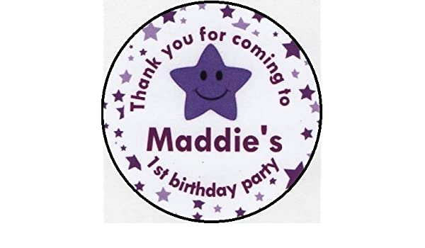 PERSONALISED A4 Sheet of 15 x 50mm Round Party Bag Stickers BLUE SMILEY STAR DesignThank you for coming to my Birthday Party Stickers