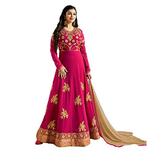 Salwar Soul Ayesha Takia Georgette Pink Embroidered Long Anarkali Suit (salwar_ER10685_free size_Pink)  available at amazon for Rs.1999