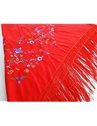 Foulard ceinture chale de danse flamenco a pois frange Seville Espagne (Rouge)