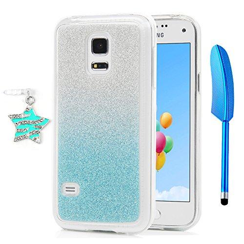 S5 Mini Hülle, Handyhülle Backcover TPU Silicone Silikon Glitzer Schutzhülle Protective Glitter Case für Samsung Galaxy S5 Mini, Blau