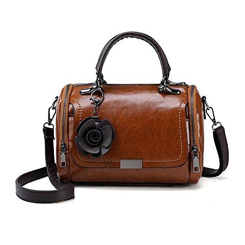 Medium Boston Handtasche (Tisdaini Damen Handtaschen in Öl Wachs Leder Henkeltasche Boston Tasche Schultertasche Umhängetasche für Frauen)