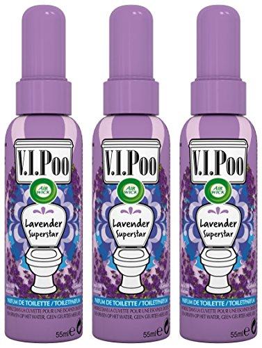Air Wick Desodorisant Spray V.I.Poo Anti Odeur Parfum Lavande Superstar 55 ml - Lot de 3