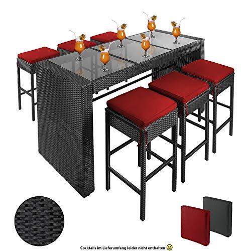 Polyrattan Bar für 6 Personen inkl. Sitzkissen und Bezügen, Farbe:Titan-Schwarz/Abendsonne ()