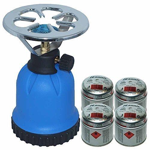 Rsonic Gaskocher C190 Blau + 4x Butane cartridge (je 190g) • Blue Portable mini Camping kocher mit 4 Butane Gaskartuschen• Campingkocher ideal zum Kochen Essen oder Wasser aufwärmen oder für Shisha Naturkohlen geeignet