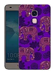 "Humor Gang Indian Elephant ethnic pattern Printed Designer Mobile Back Cover For ""Huawei Honor 5C"" (3D, Matte Finish, Premium Quality, Protective Snap On Slim Hard Phone Case, Multi Color)"