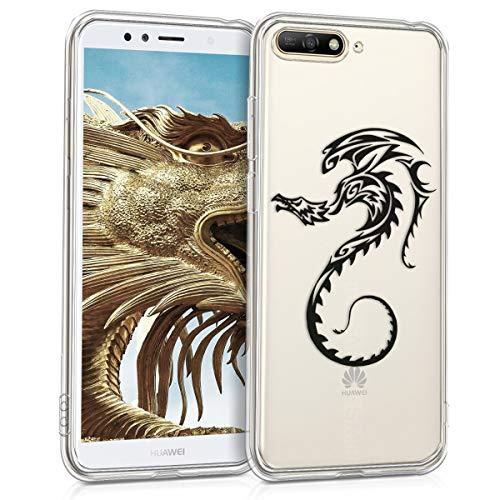 kwmobile Funda para Huawei Y6 (2018) - Carcasa de [TPU] para móvil y diseño de dragón en [Negro Transparente]