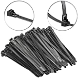AGT Mehrweg Kabelbinder: 100er-Set wiederverschließbare Kabelbinder, schwarz, 150 x 7,6 mm (Kabelbinder-Sortiment)