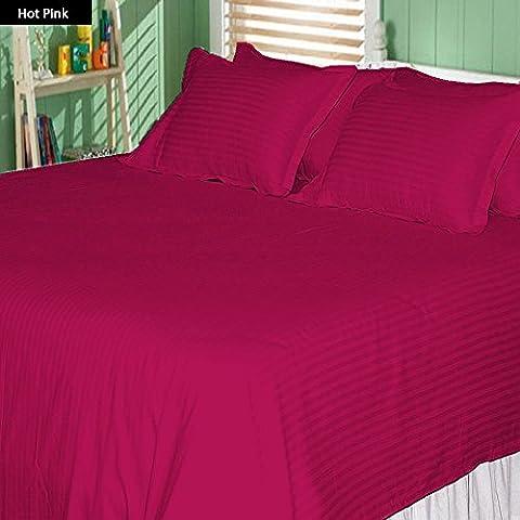 Ropa de cama egipcio - 600tc juego para cama de con Set de funda de edredón y faldón para cama individuales de rosa diseño a rayas 100% algodón egipcio