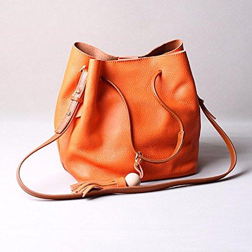 Frauen Tassel Schultertasche aus Leder Tasche Handtasche Shopper Messenger Umhängetaschen (Orange) Hunpta eRavzQkJgg