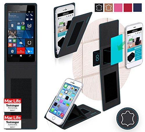 reboon Hülle für Nokia Lumia 540 Dual SIM Tasche Cover Case Bumper | Schwarz Leder | Testsieger