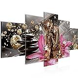 Runa Art Bilder Buddha Orchidee Wandbild 200 x 100 cm Vlies - Leinwand Bild XXL Format Wandbilder Wohnzimmer Wohnung Deko Kunstdrucke Pink 5 Teilig - Made IN Germany - Fertig zum Aufhängen 505351a