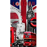 DRAP DE PLAGE LONDON BIG BEN SERVIETTE EPONGE VELOURS IMPRIMEE 70x140cm