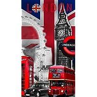 DRAP DE PLAGE LONDON BIG BEN SERVIETTE EPONGE VELOURS IMPRIMEE 70x140cm